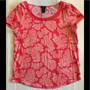 Ann Taylor Outlet Coral Paisley Tee